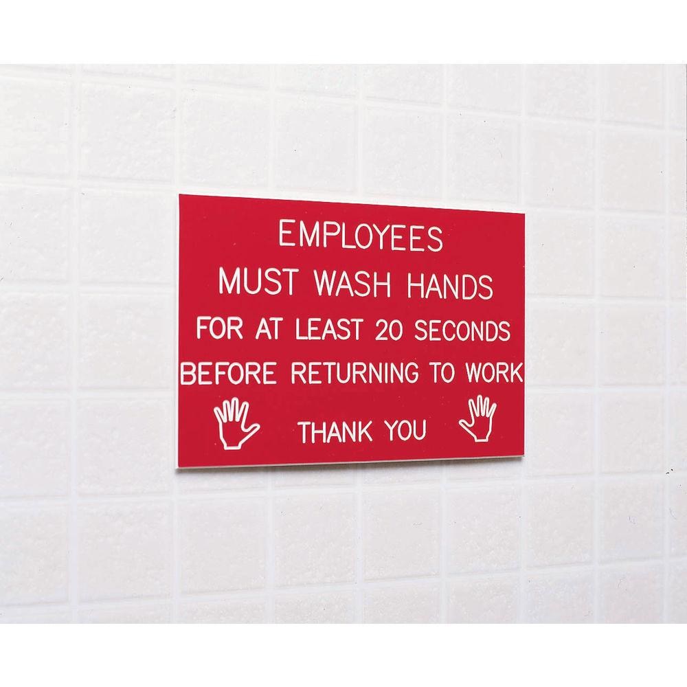 SIGN, HAND WASHING RED/WHITE