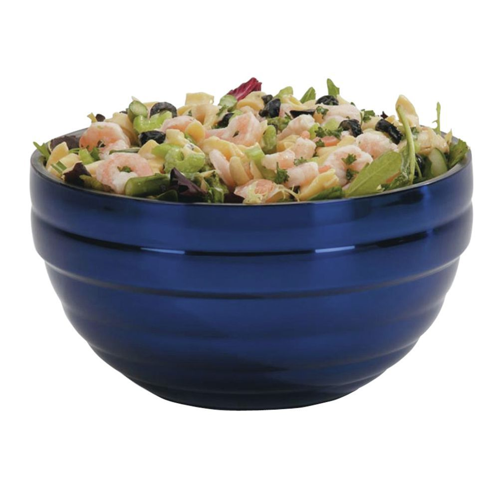 """Vollrath Double Wall Serving Bowls 9 1/2""""Dia x 5""""H Painted Stainless Steel Cobalt Blue"""