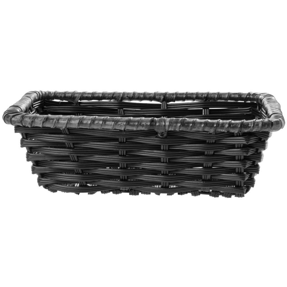 "Expressly Hubert® Tri-Cord Washable Wicker Basket Black  10""L x 7 1/2""W x 3""H"