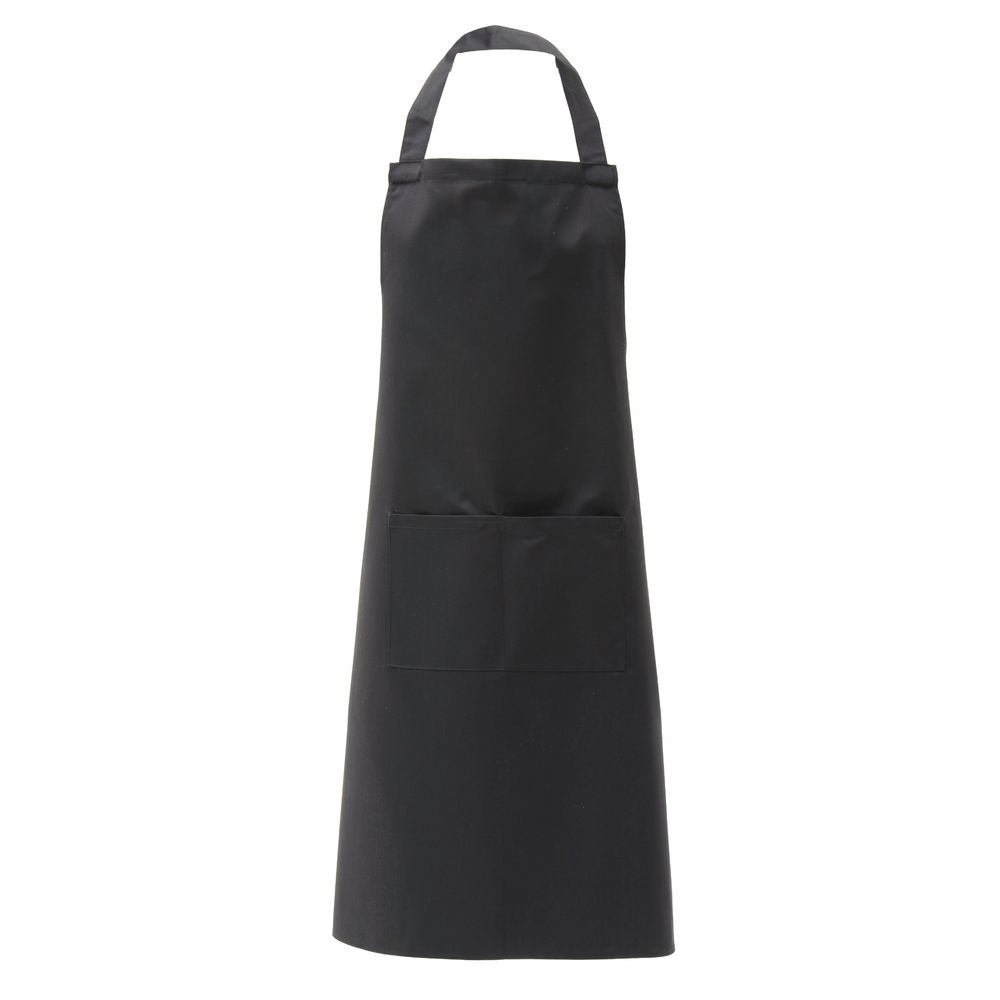 +APRON, BIB, POLYCOTTON, BLACK, W/2 POCKETS