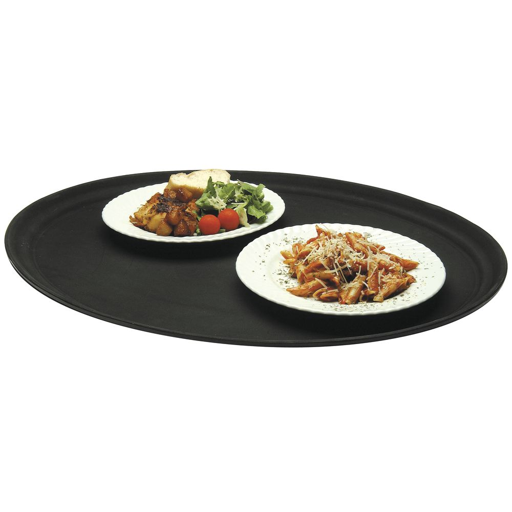 "TRAY, OVL.27X22""BLACK, NOSKID, POLY, HUBERT"
