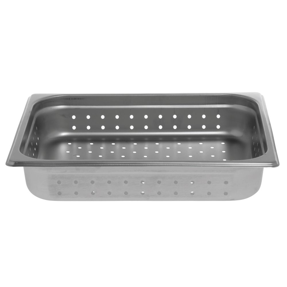 "Hubert Stainless Steel Steam Pan 1/2 Size Perforated 2 1/2""D"