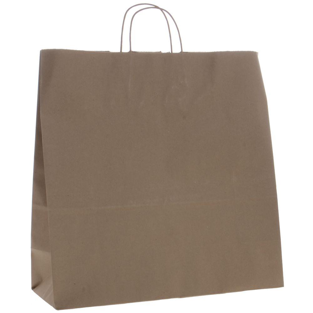 Natural Kraft Paper Shopping Bag With Handles 18 L X 7 D X 18 3 4 H