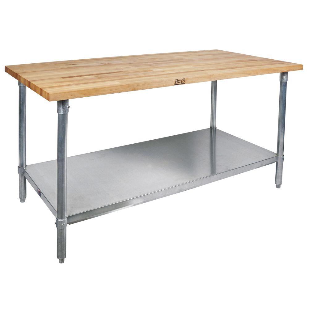 TABLE, MAPLE, S/S W/SHELF 60X30