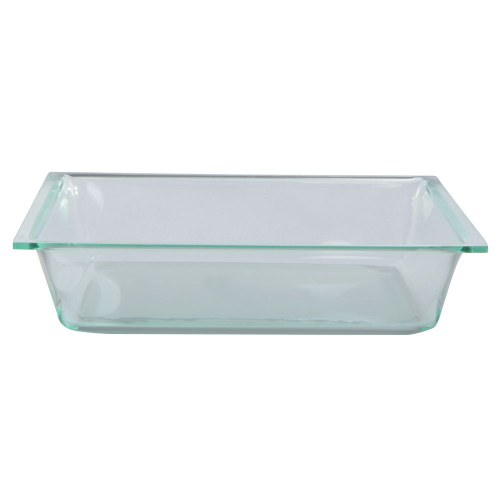 "Delfin Square Green Glass Acrylic Display Bowl 11 1/2""L  x 2 1/2""H"