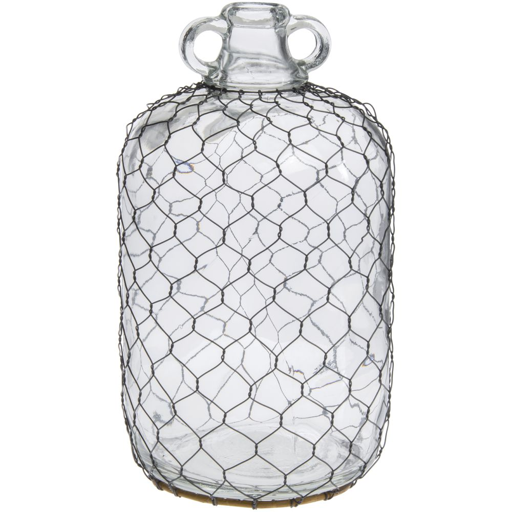 Handled Glass Chicken Wire Moonshine Jug - 6 1/2Dia x 12 1/2H