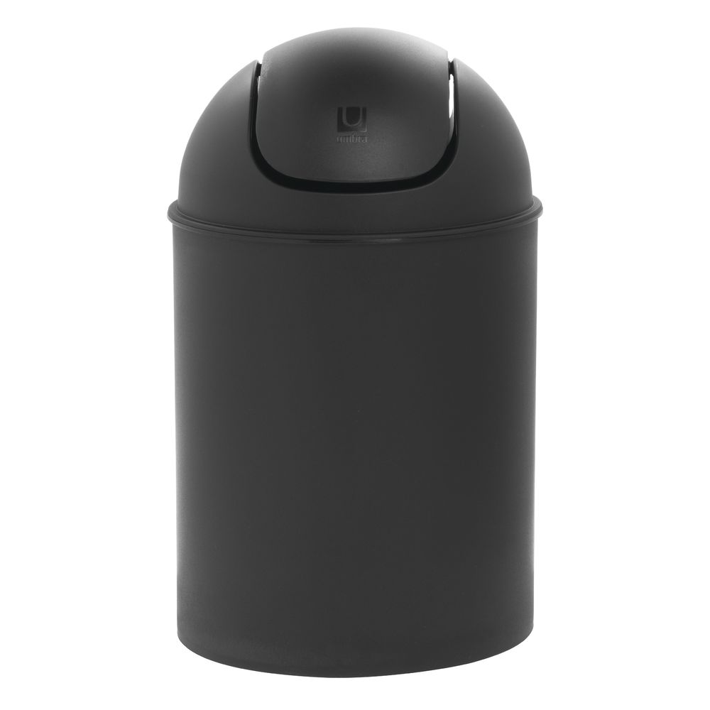 Countertop Trash Can With Swing Top 6 Qt Black Plastic 7