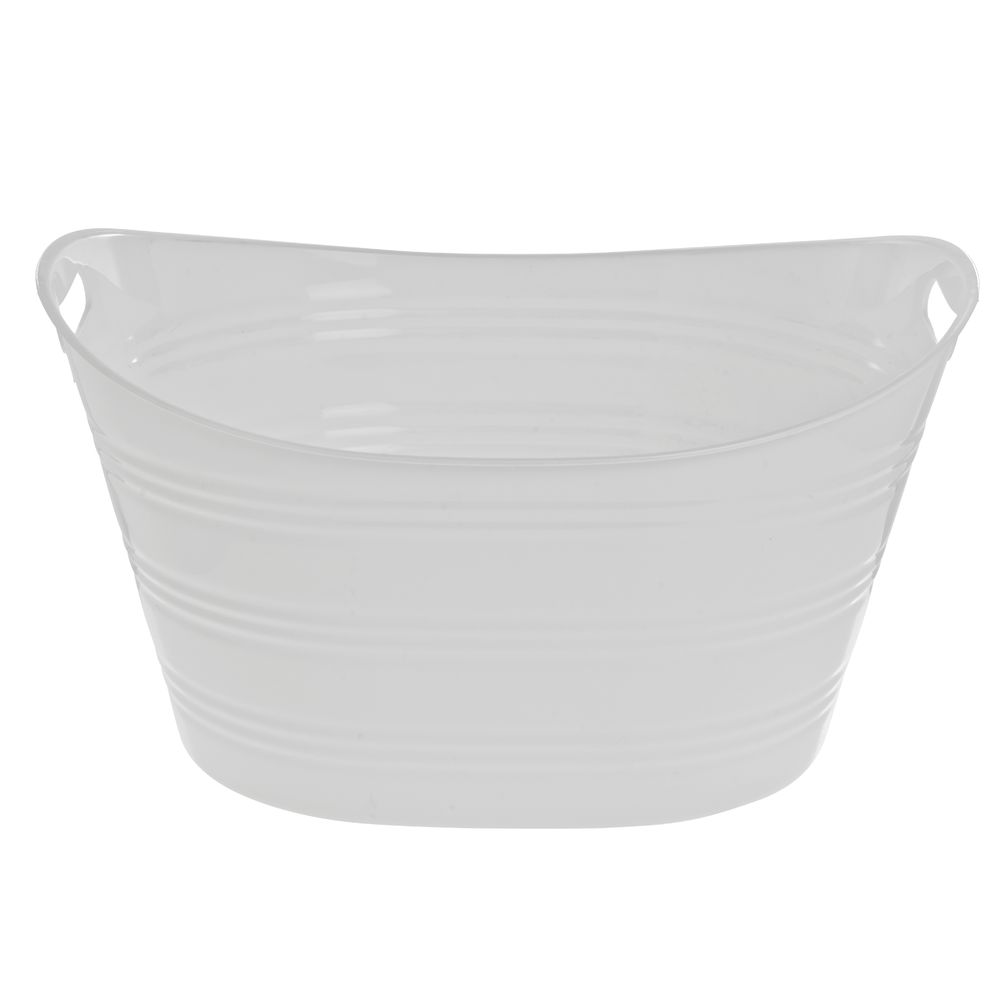 "White Plastic Party Tub Oval 11 1/4""H"