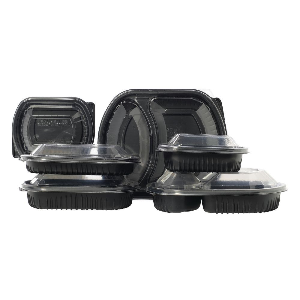 Meal Master® 16 oz Oval Black Polypropylene Base - 8 1/8