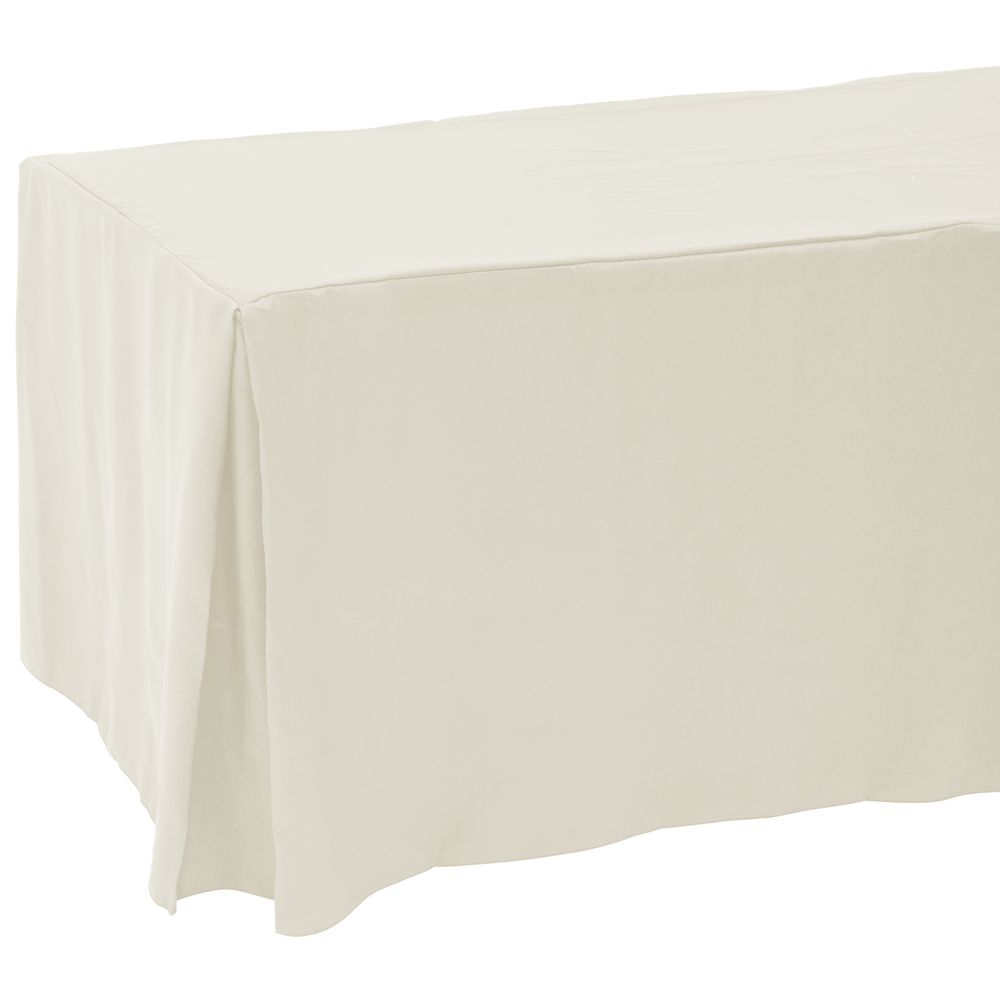 225 & HUBERT® Fitted Ivory Polyester Table Cover With Corner Pleats - 72\