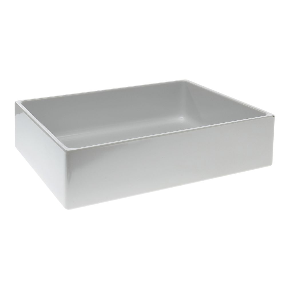 "Modular Straight Sided Melamine Crocks with Rounded Corners Rectangular Pan in White 10""L  x 12""W x 3""H"