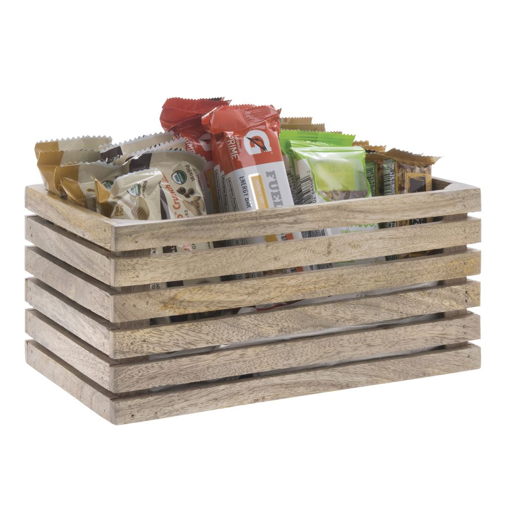 CRATE, SLATTED, MANGO WOOD,