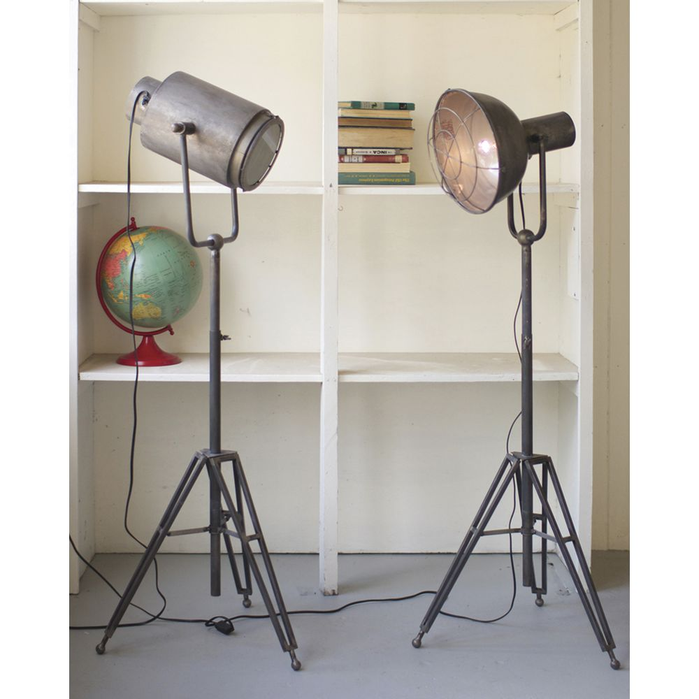 caged industrial floor lamp