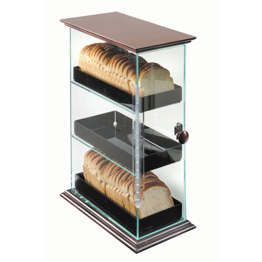 Three-Level Bread Display with Decorative Wood Accents