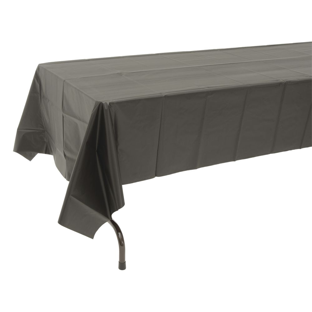 225 & Table Mate Black Plastic Disposable Table Cover - 54\