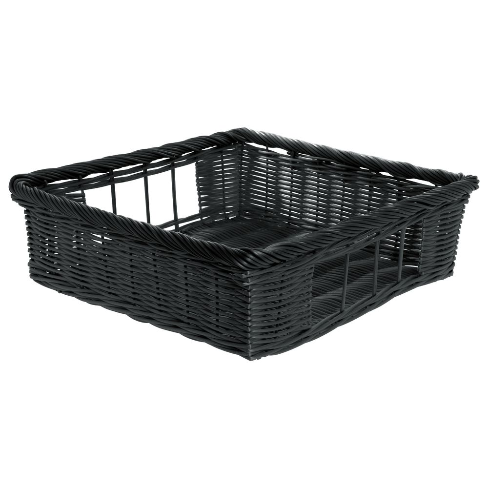 Basket Tray Square Black 18 L x 18 W x 3 D