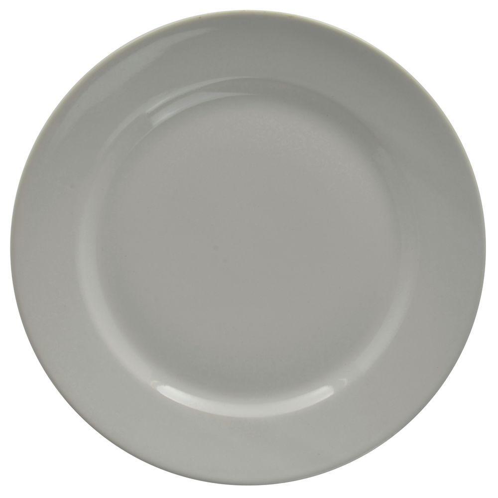 """Hubert Rolled-Edge Dinner Plate 11"""" Dia Bright White Stoneware Dinnerware"""