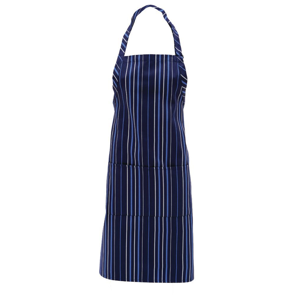 Blue and white strip chef aprons