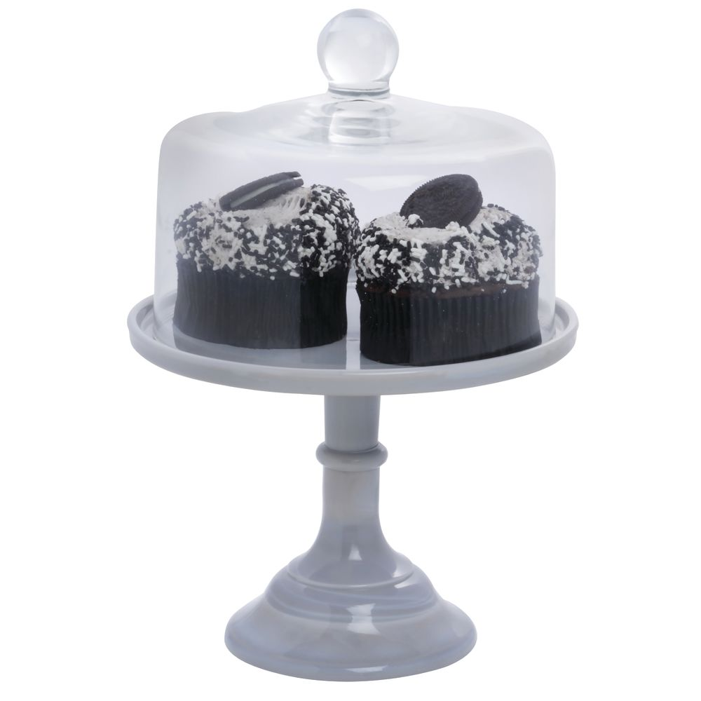 CAKE STAND, GLASS, 9DIAX7, GREY MARBLE