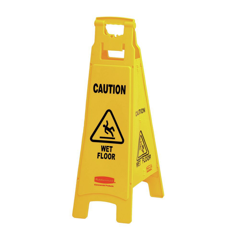 """SIGN, 37""""CAUTION, WET FLOOR, 4 SIDED, YEL"""