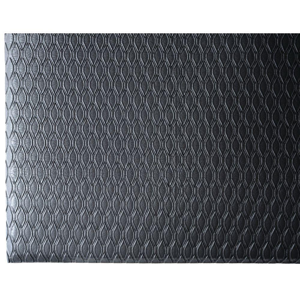 HUBERT® Charcoal Nitrile PVC Foam Cushion Max Anti-Fatigue Mat - 3\'L x 2\'W  x 5/8\
