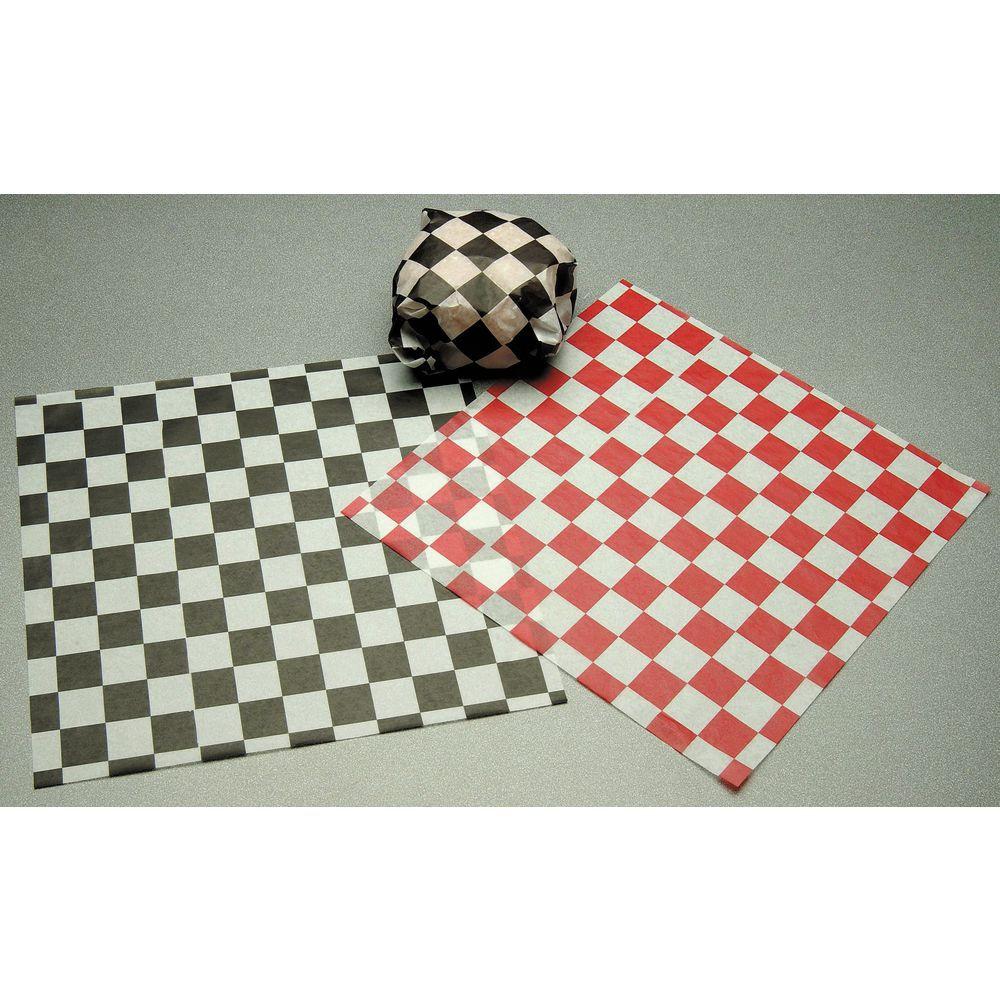 black check dry waxed sandwich deli paper 12 l x 12 w