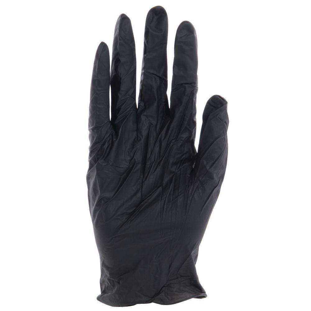GLOVES, BLACK, DISPOSABLE, LARGE, BX/100