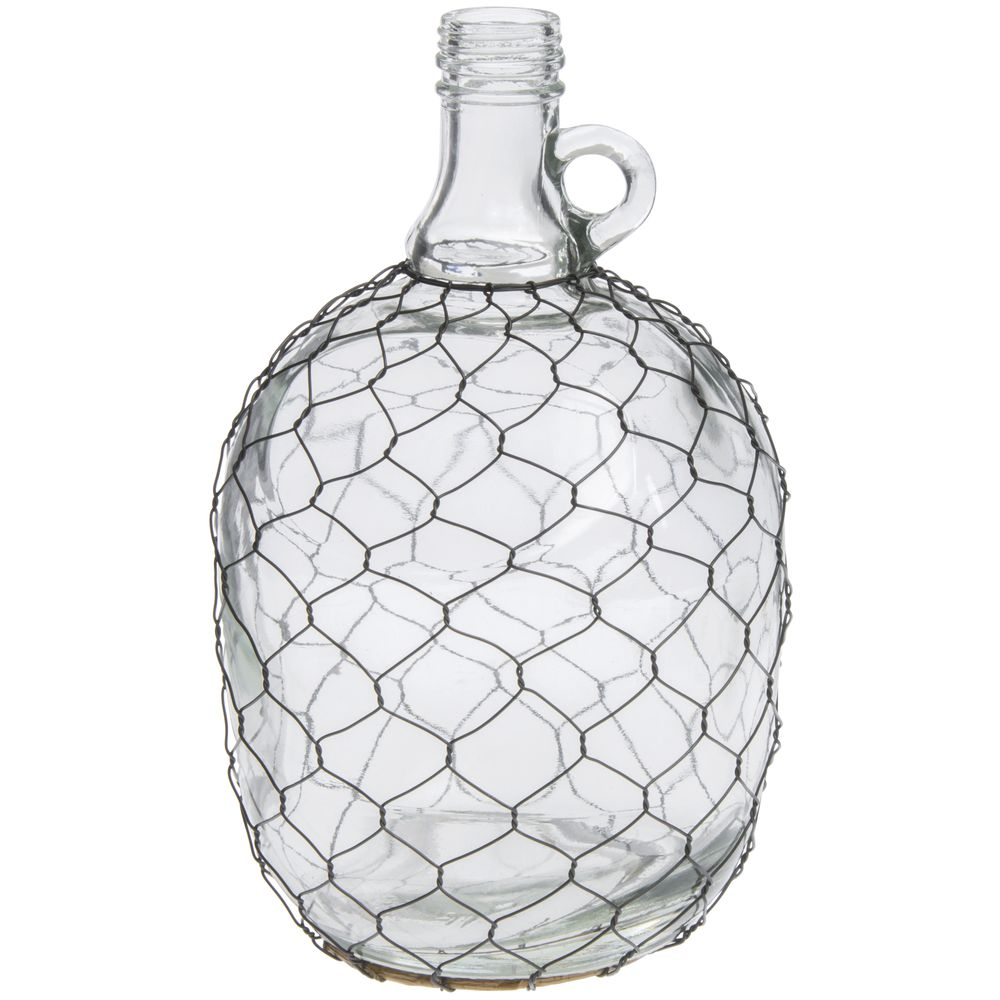 Handled Glass Chicken Wire Wine Jug - 5 1/2Dia x 11H