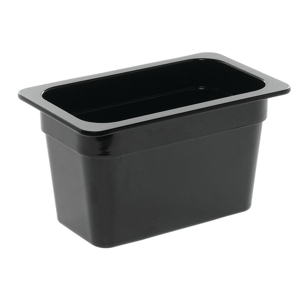 "Cold Food Pan in Black Melamine Fourth Size 6 3/8""L x 10 7/8""W x 6""H"