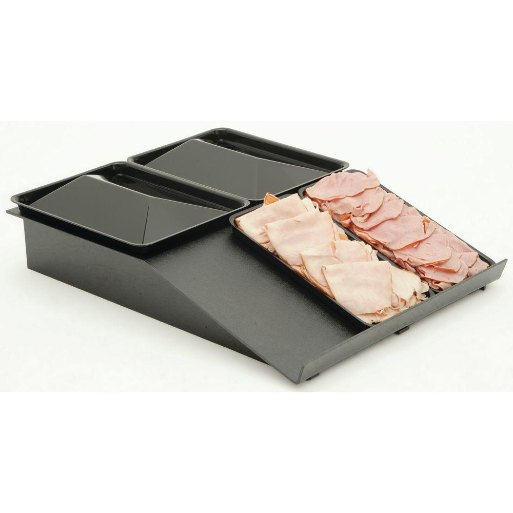 """Deli Meat Tray Solid Flat Top Riser 30""""L x 24""""W x 5""""H Black Plastic"""