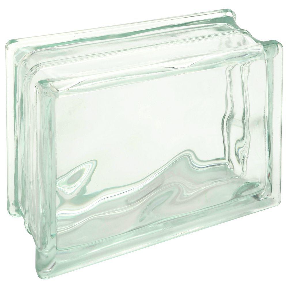 """DECORATIVE GLASS BLOCK, 6""""X8""""X3"""""""