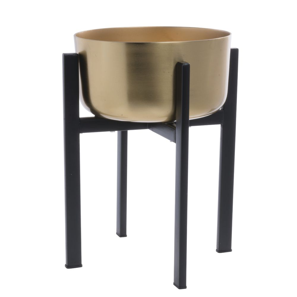 Gold/Black Metal Dash Plant Stand - 9 1/2