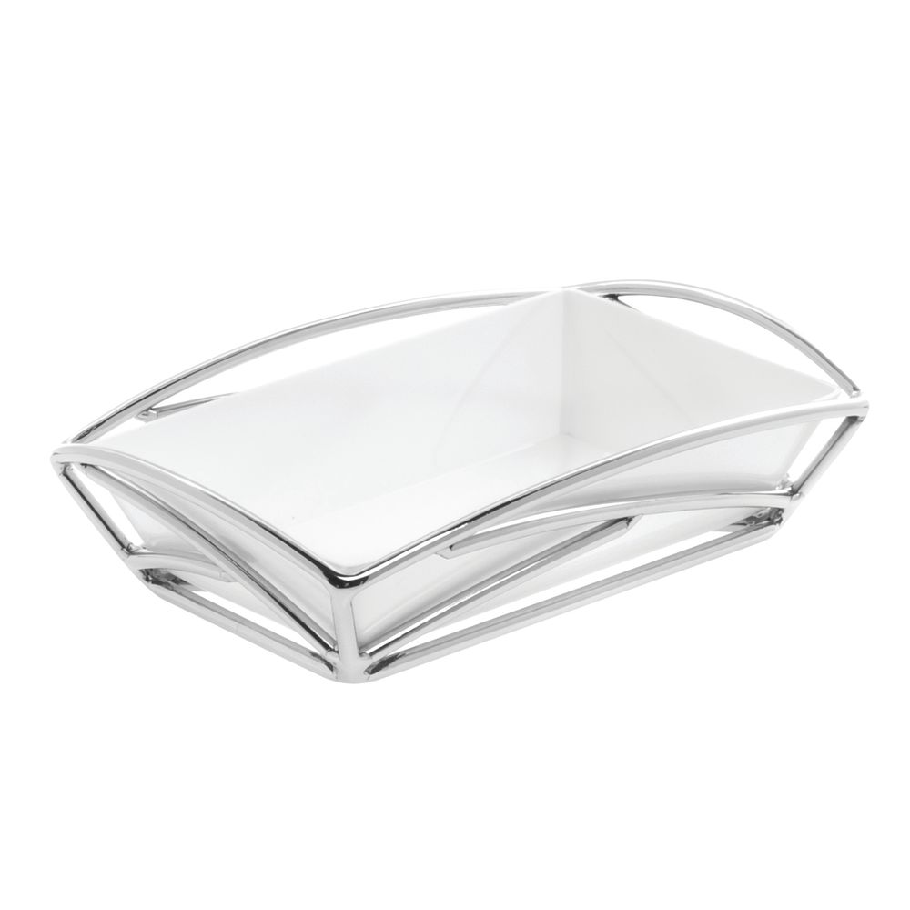 "TRAY, 9X6X2"", CHROME W/WHITE LINER"