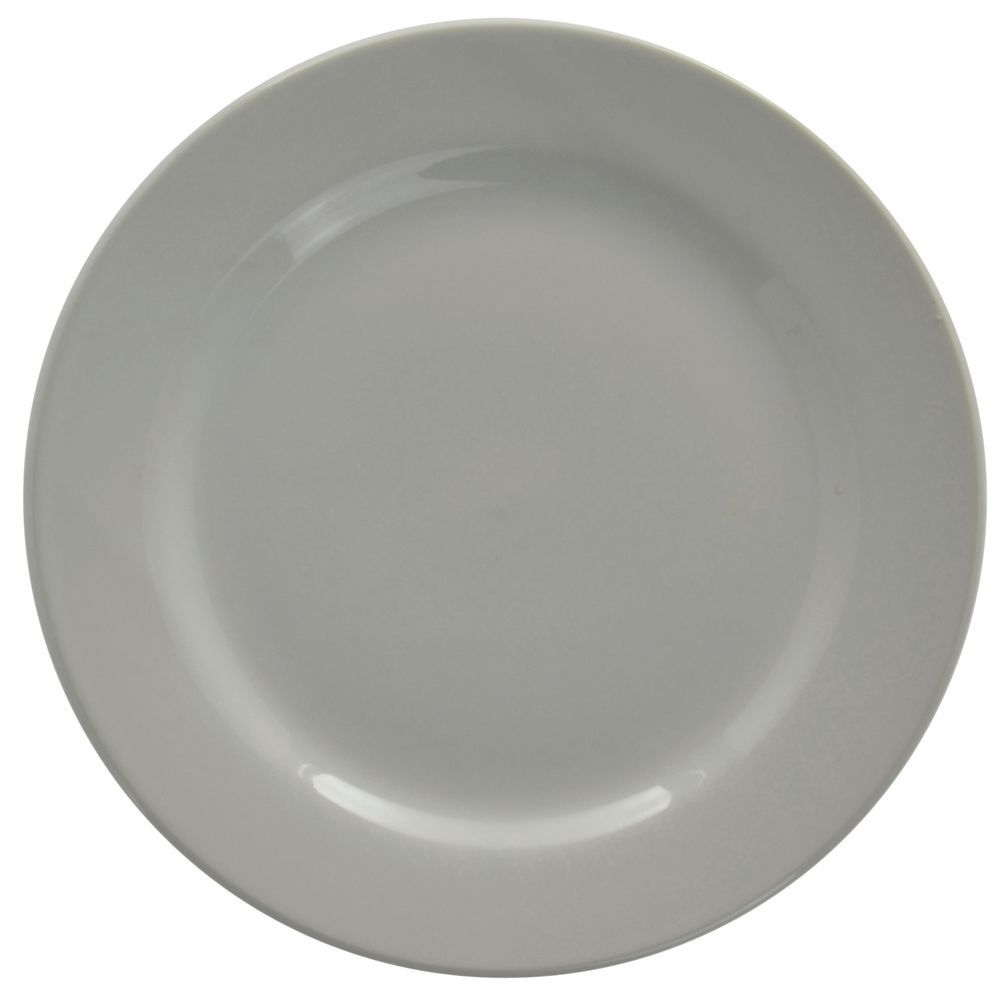 "Hubert Rolled-Edge Luncheon Plate 9"" Dia Bright White Stoneware Dishes"