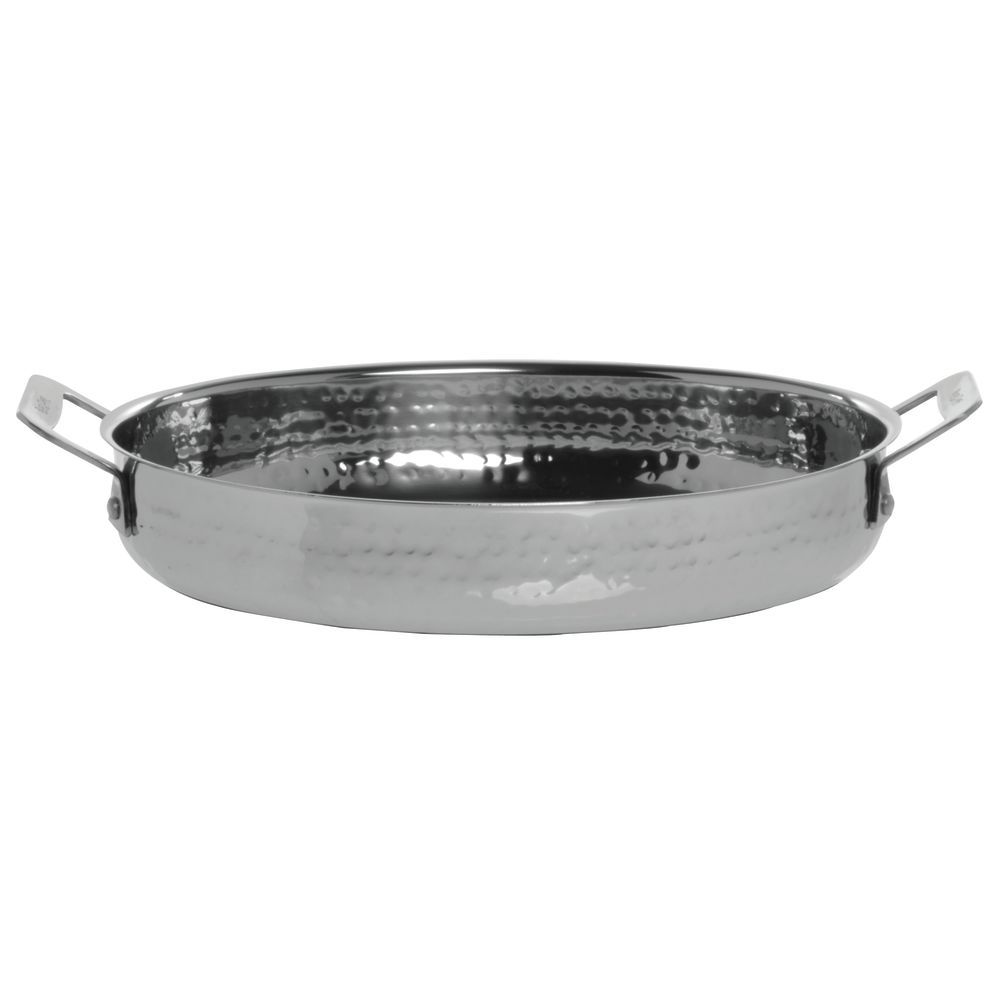 """Cucina 4 X 4 bon chef cucina 2 1/2 qt oval hammered stainless steel casserole dish - 12  7/16""""dia x 1 13/16""""h"""
