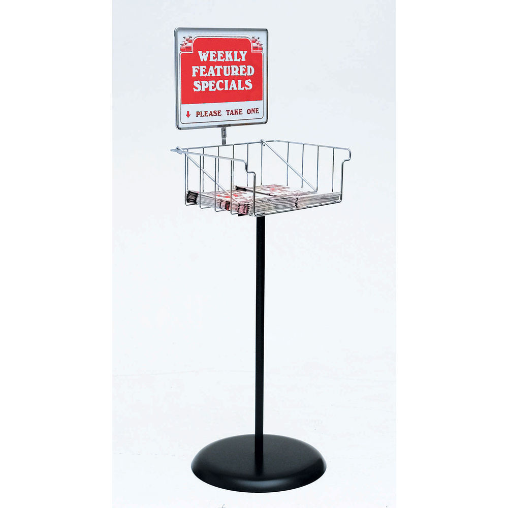 Black Metal Floor Standing Circular Holder With Basket 17l X 12w
