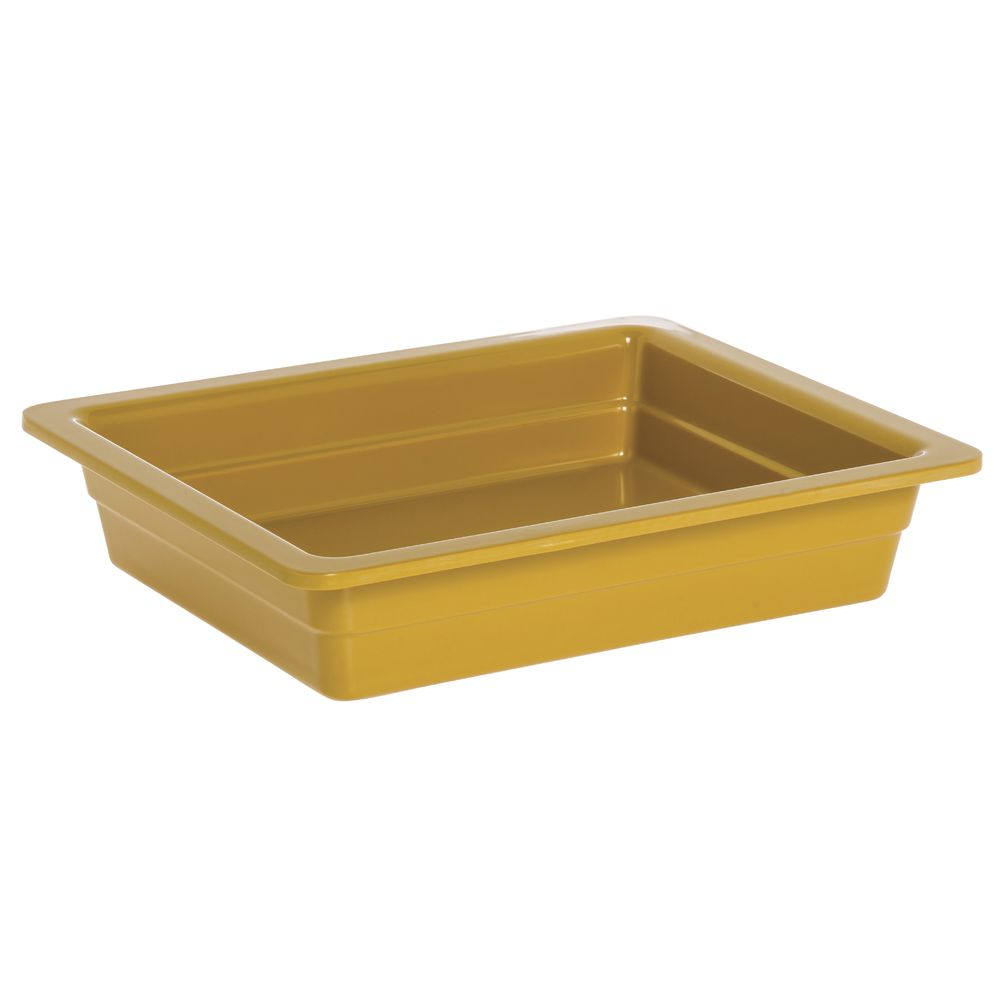 "Expressly Hubert® Half Size Melamine Cold Food Pan 2 1/2""D Mustard Yellow"