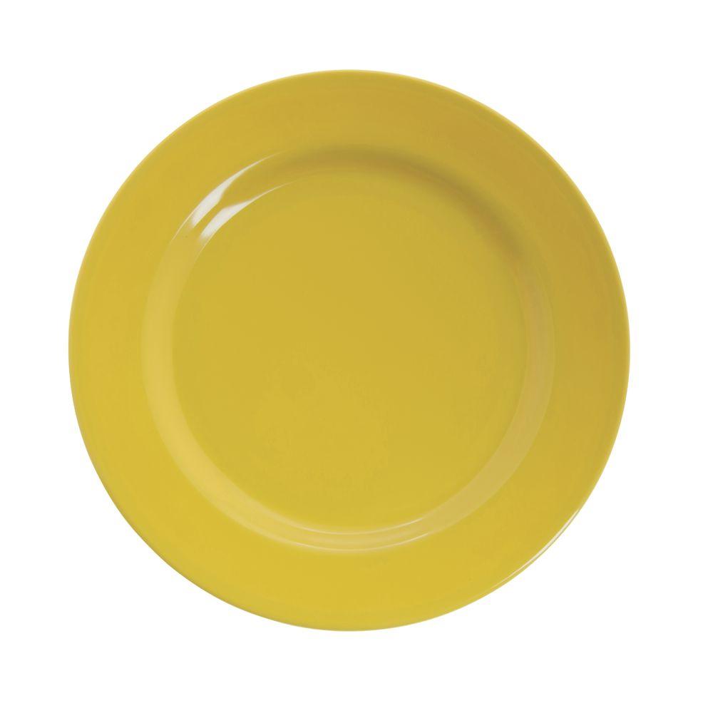 "Hubert® Wide Rim Melamine Dinner Plate 9"" Yellow"