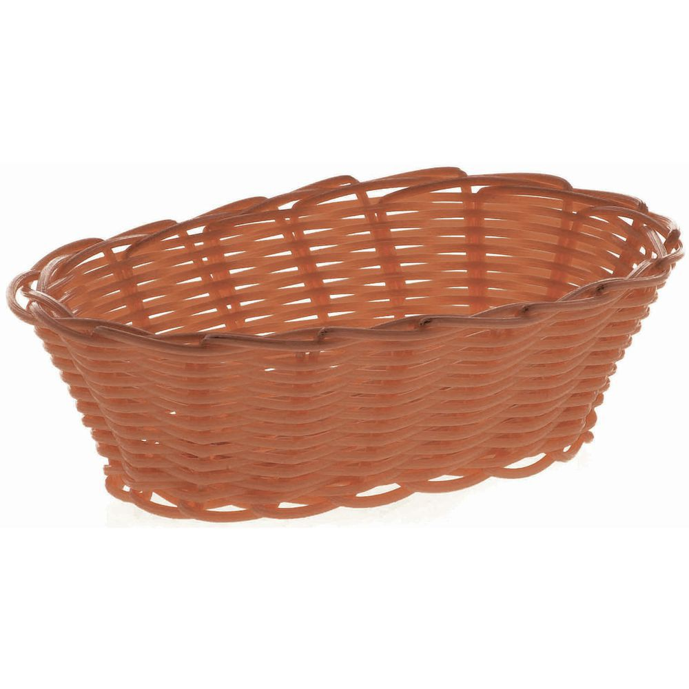 "BASKET, BREAD, OVAL, 7"", BROWN"