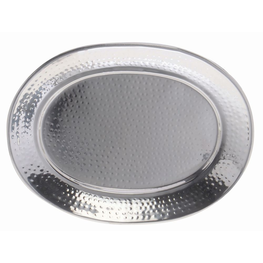 TRAY, 201 HAMMERED SS, OVAL, 13 X 9 X 1