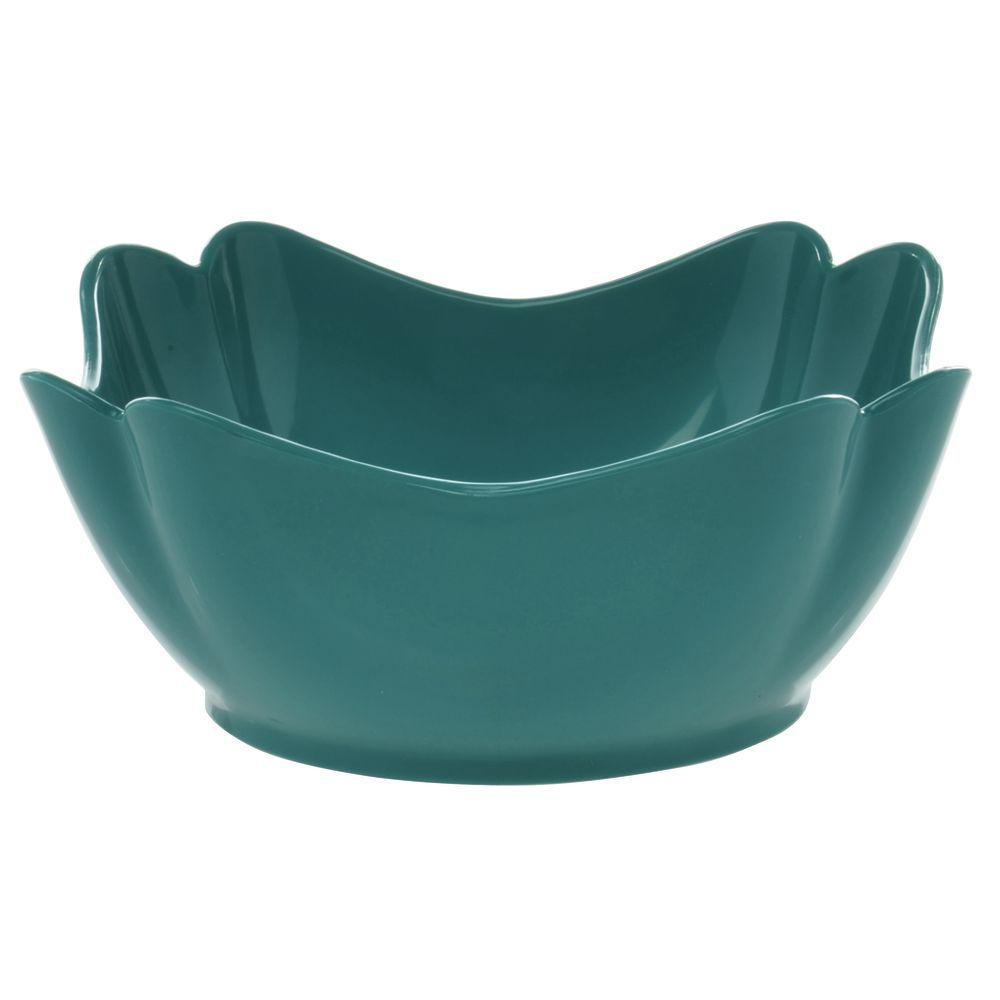 "Glossy Tulip Crock/ Square Teal Bowl in SAN Plastic 8""L x 8""W x 4""H"