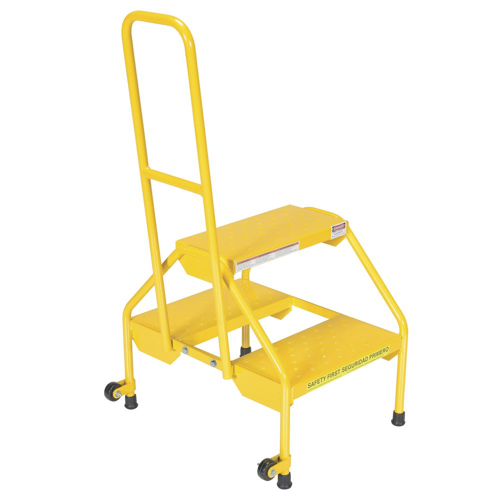 Vestil Yellow Steel 2-Step Ladder With Handrail And Perforated Steps - 23  1/2
