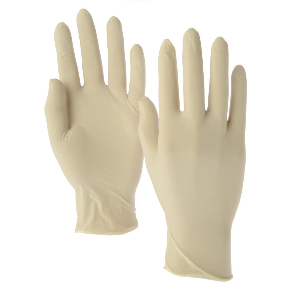 Beige Latex Powder-Free Disposable Gloves