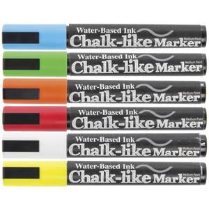MARKER, CHALK-LIKE, 6MM, COLORS, SET 6