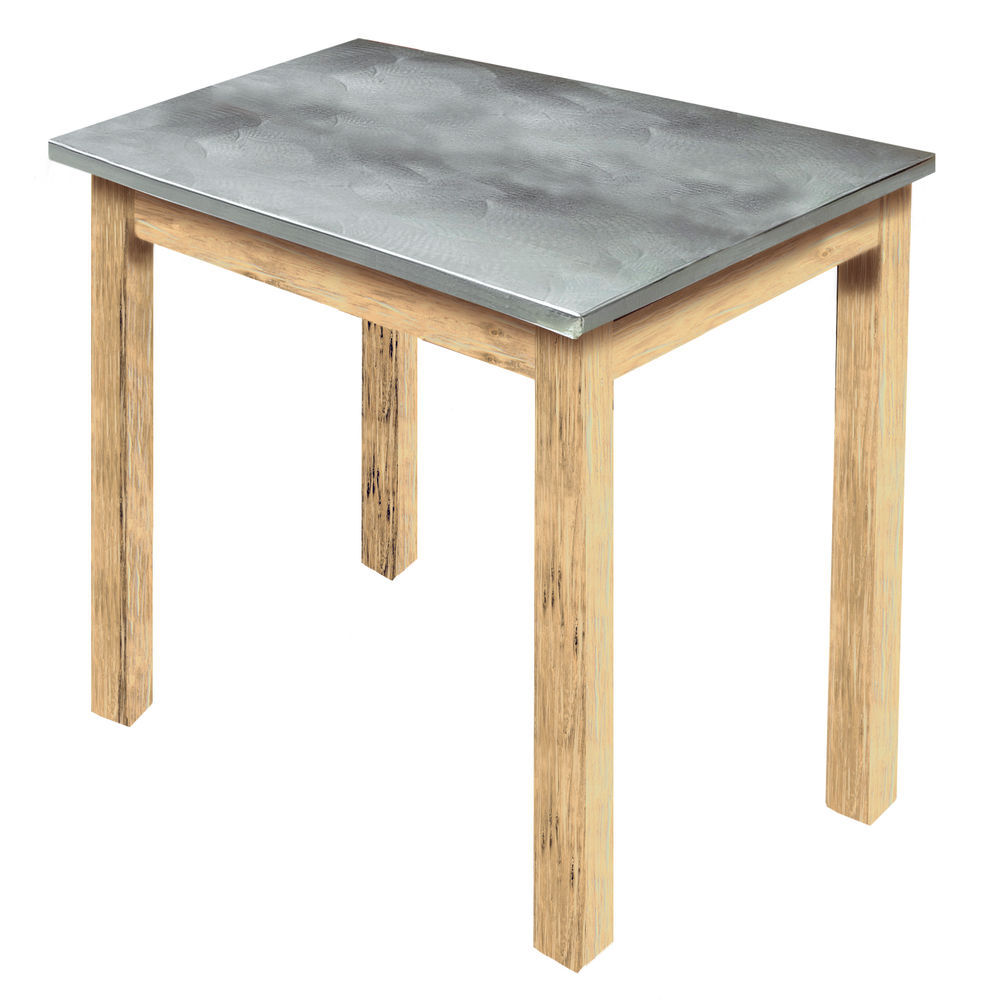 Expressly HUBERT Light Oak Wood Nesting Table With Galvanized Top   24L X  20D X 22 1/4H