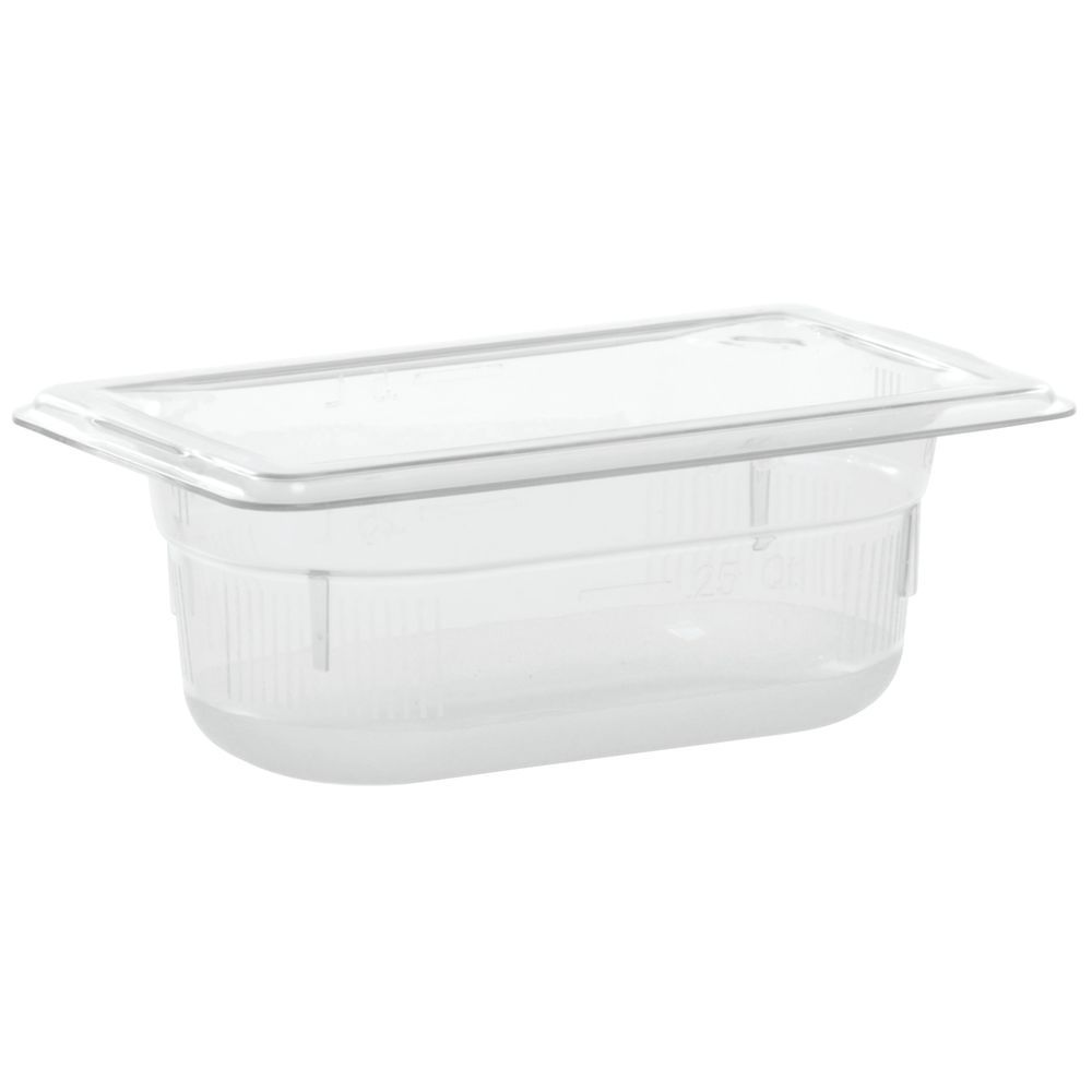 """Vollrath Super Pan Plastic Steam Table Pan Low Temp Clear 1/9 Size 2 1/2""""D"""