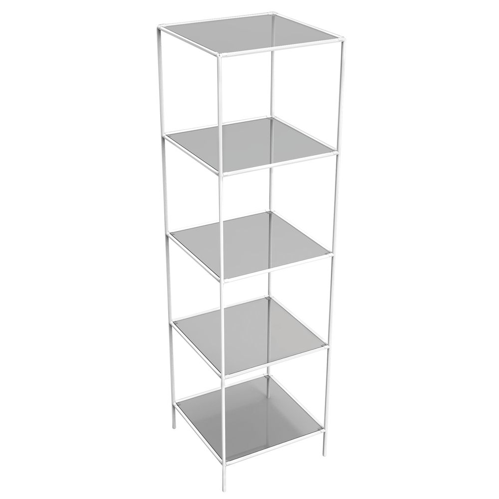 TOWER, SHELVING, WHITE, 5 GLASS SHLVS