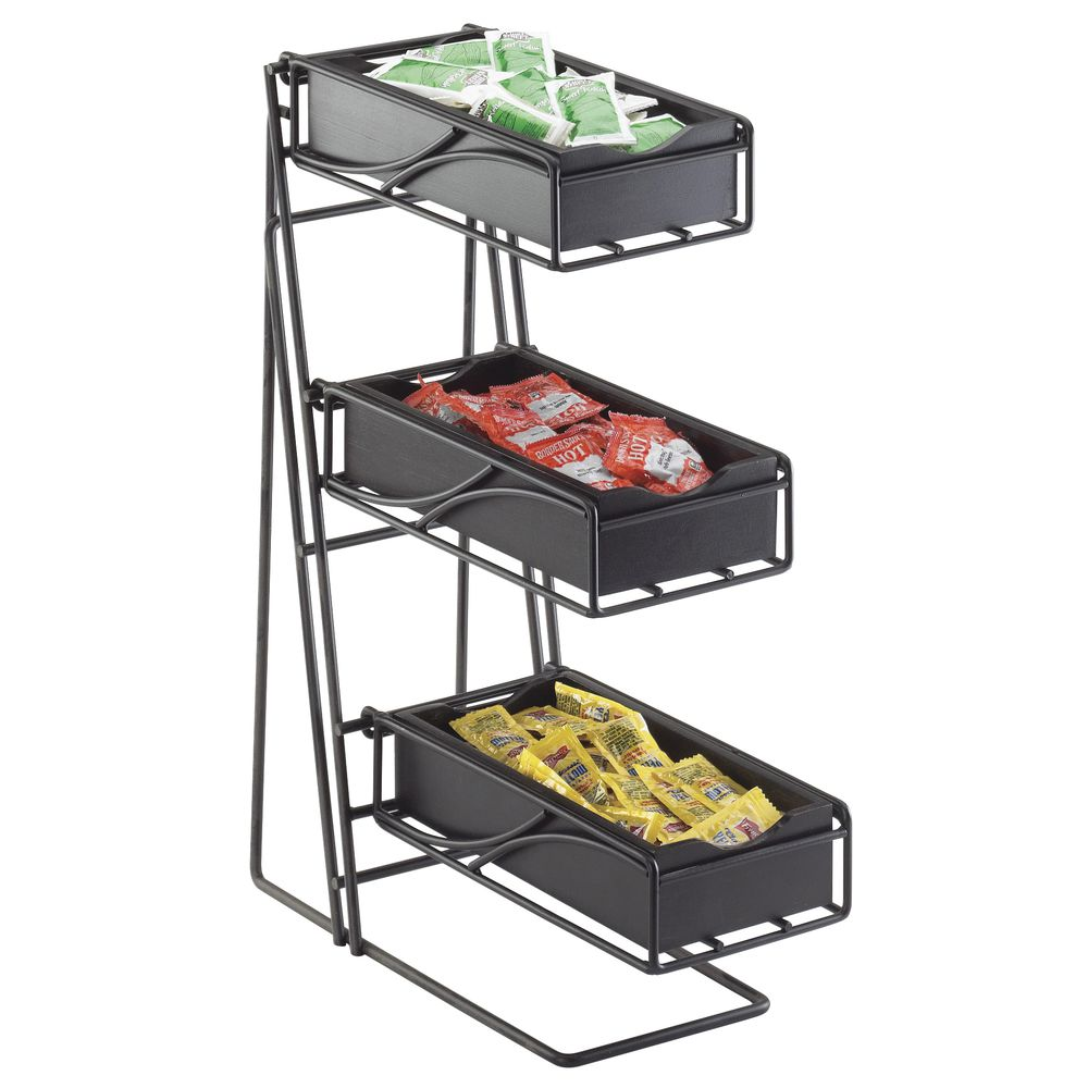 CONDIMENT/FLATWARE DISPLAY, 3-TIER, W BINS