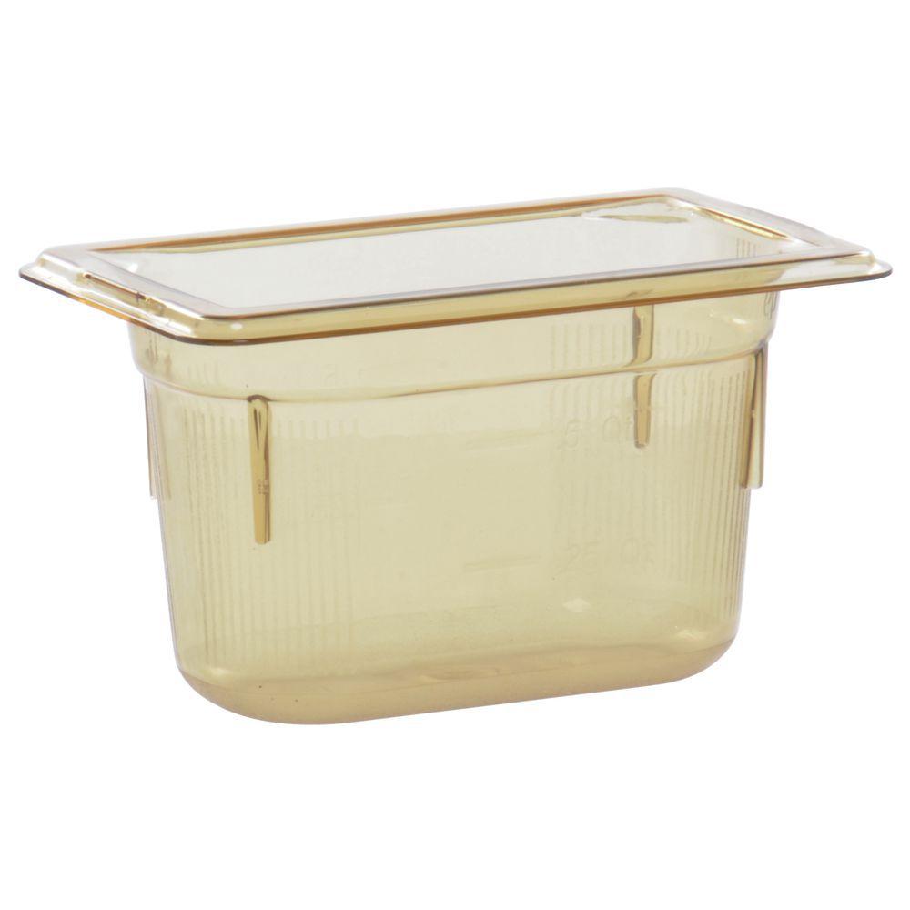 """Vollrath Super Pan Amber Plastic Buffet Pan HighTemp 1/9 Size 4""""D"""