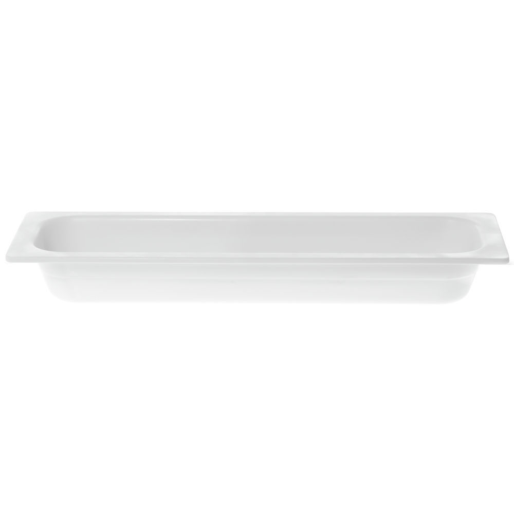 "Cold Food Pan Half Size Long in White Melamine 21 1/2""L x 6 1/2""W x 2 1/5""H"